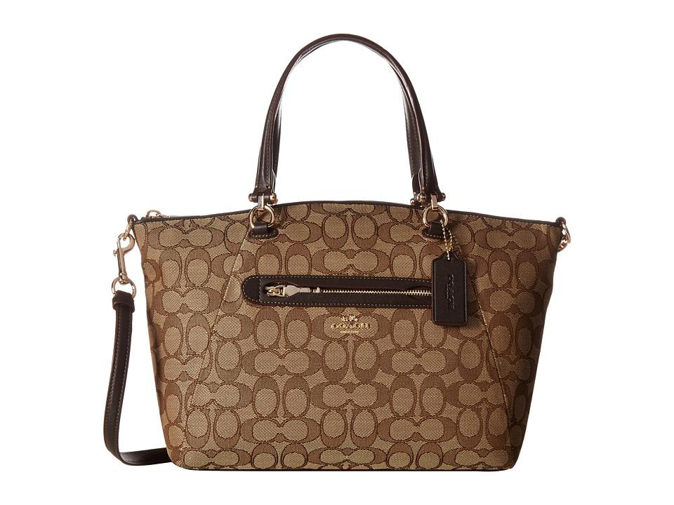 COACH - Signature Prairie Satchel (LI/Khaki/Brown) Satchel Handbags