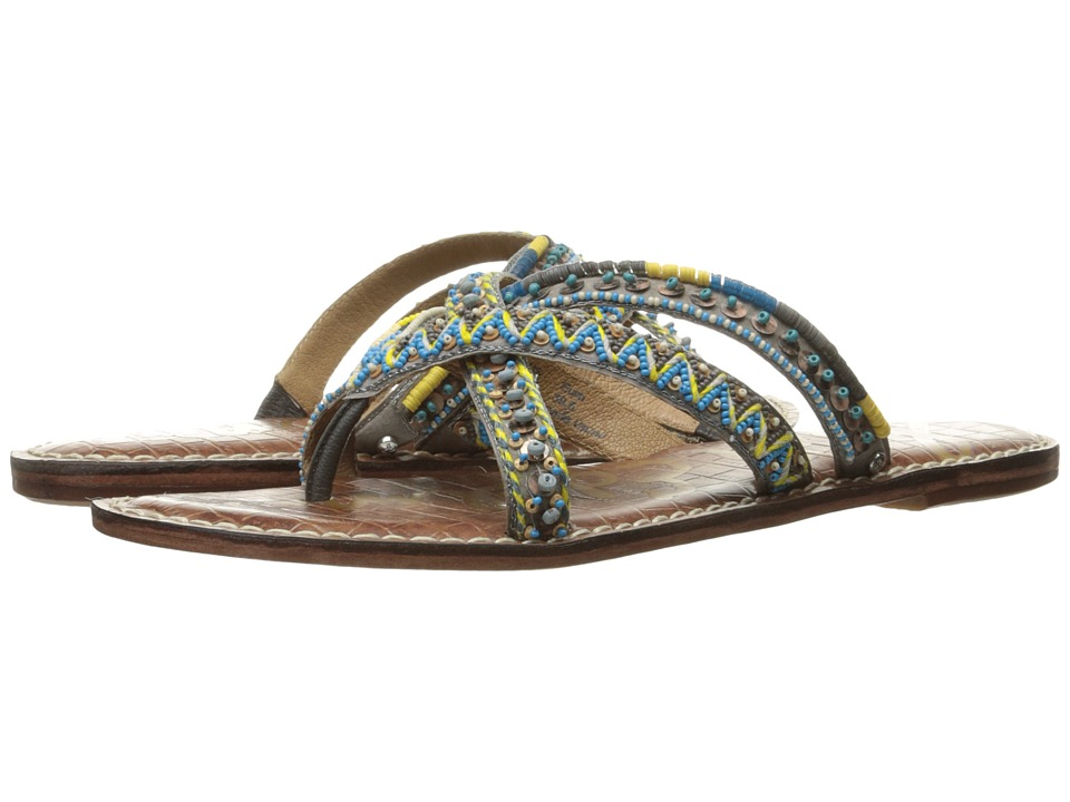 Sam Edelman - Karly (Turquoise Multi Cross Strap Beaded Fabric) Womens 1-2 inch heel Shoes