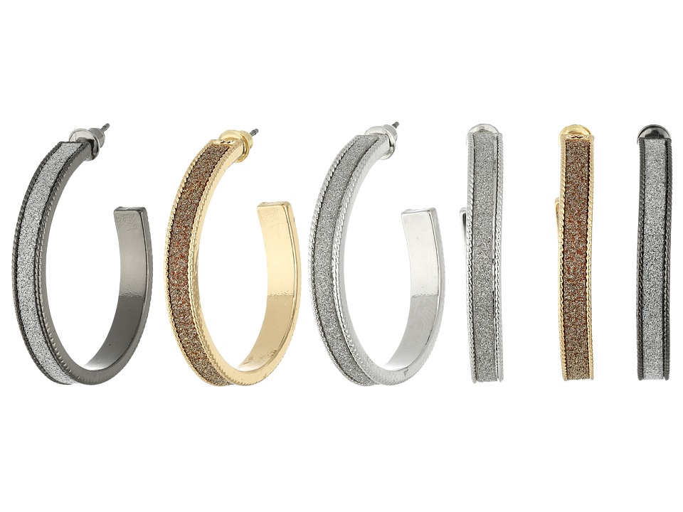 Steve Madden Glitter Hoop Trio Earrings Set (Tri-Tone) Ea...