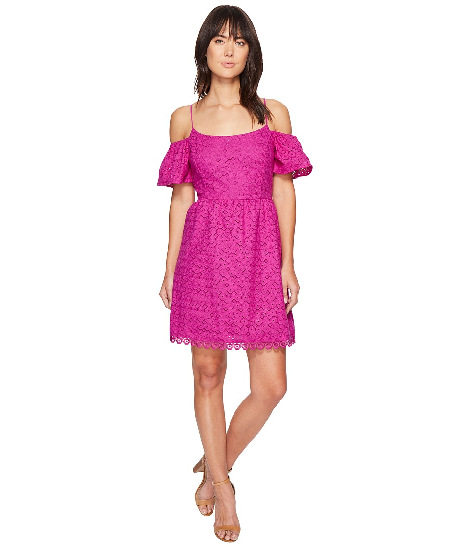 kensie Eyelet Dots Dress KS4K7683 (Bright Purple) Women
