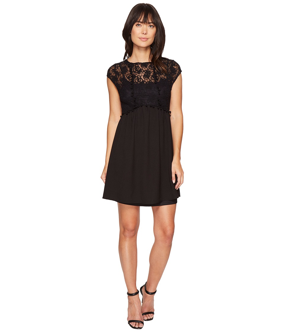kensie Lace Netting Dress KS4K7904 (Black) Women