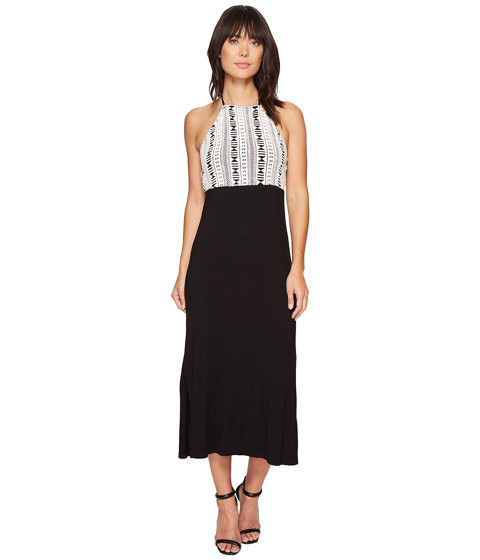 kensie Lightweight Viscose Spandex Midi Dress KS4K9599 (Black Combo) Women
