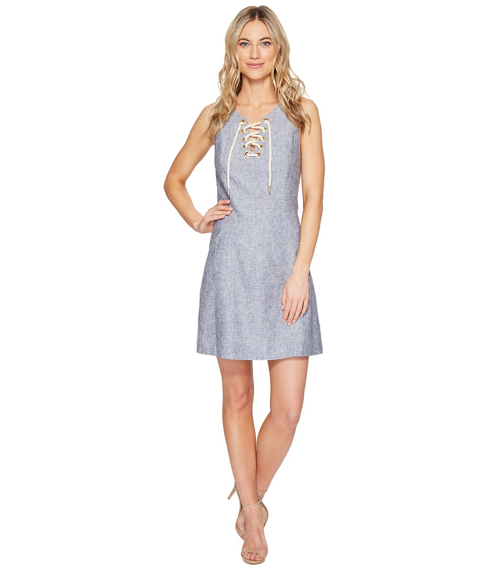kensie Cross Dye Linen Blend Dress KS5K7796 (Darkest Navy Combo) Women