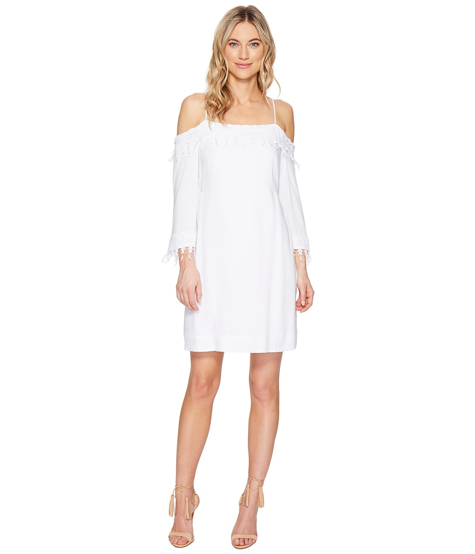 kensie Crosshatch Rayon Dress KS5U7108 (White) Women