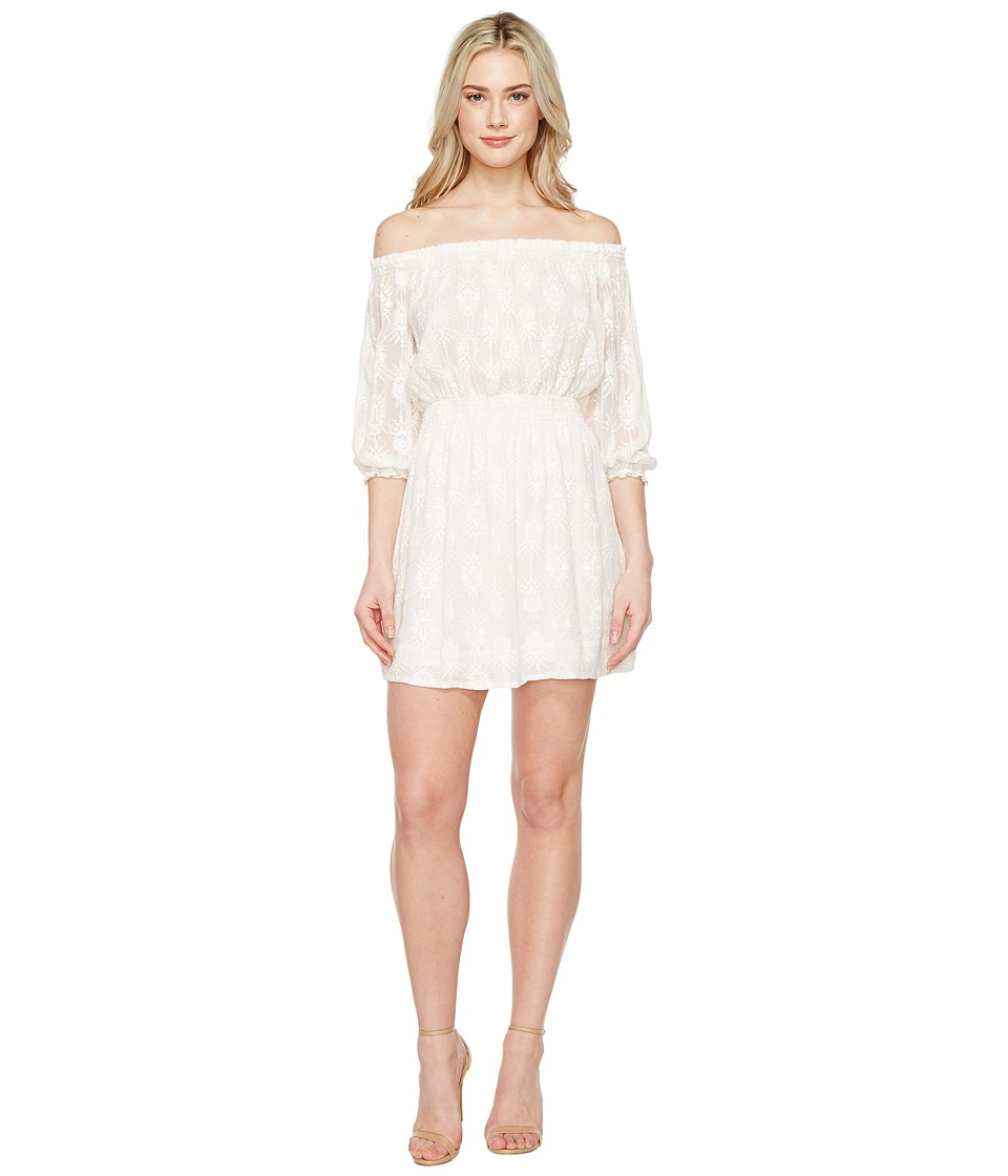 Rebecca Taylor Off the Shoulder Selina Embroidery Dress (Snow) Women
