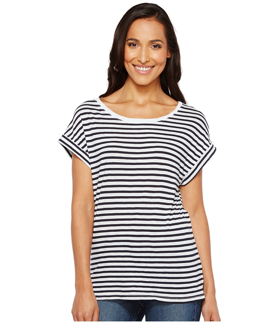 Splendid French Stripe Roll-Up Tee (White/Navy) Women