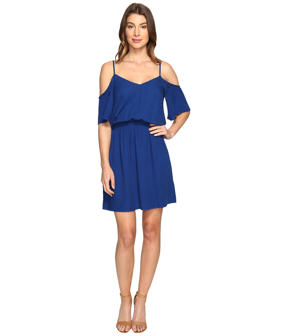 Splendid Rayon Crosshatch Cold Shoulder Dress (Royal Azure) Women
