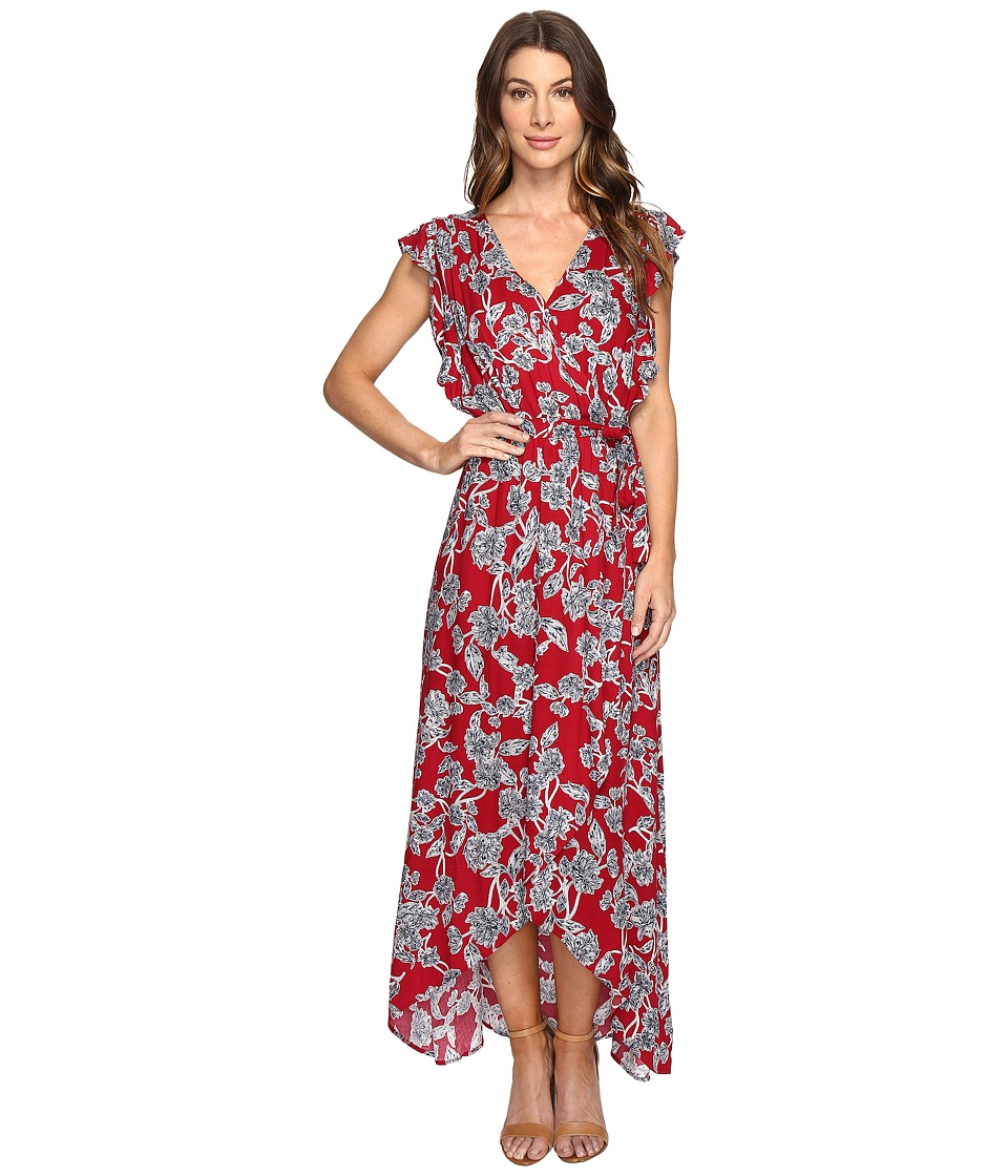 Splendid Etched Floral Wrap Dress (Beet Red) Women