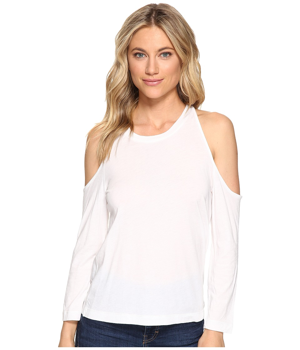 Splendid Very Light Jersey Cold Shoulder Tee (White) Women