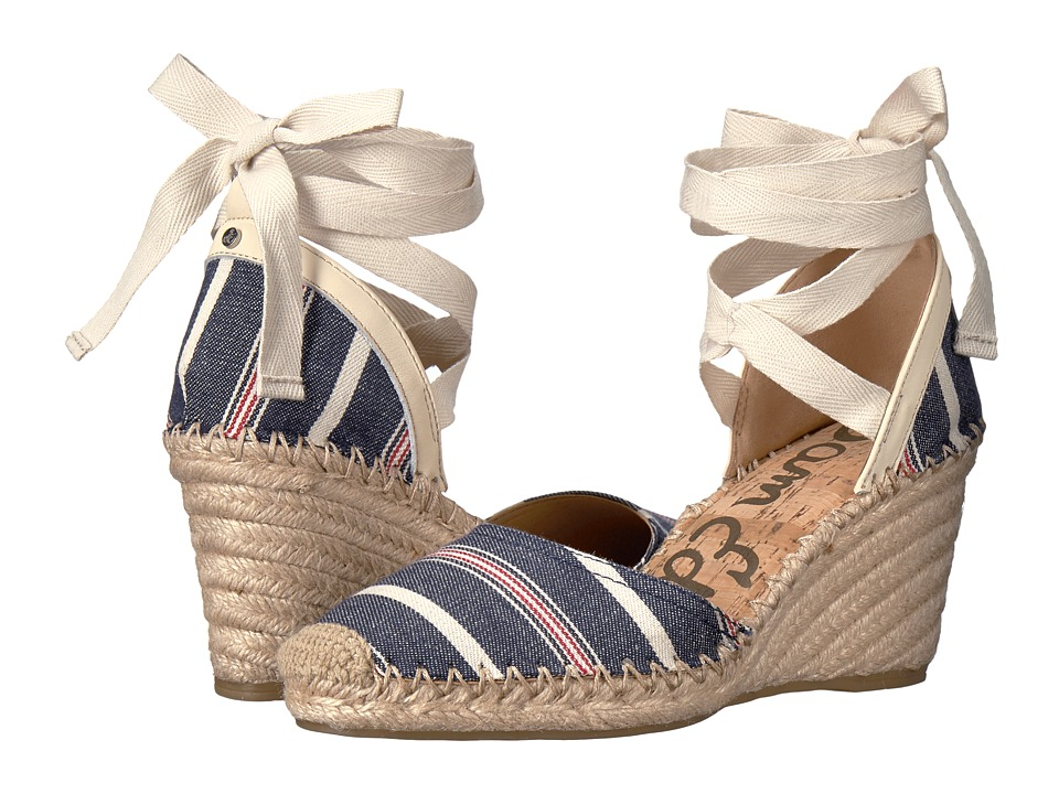 Sam Edelman - Patsy (Blue Multi/Modern Ivory Large Americana Stripe Fabric) Womens 1-2 inch heel Shoes