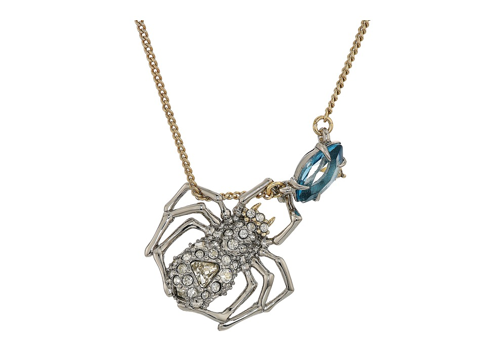 Alexis Bittar - Crystal Encrusted Suspended Spider Pendant Necklace (10K Gold/Rhodium) Necklace
