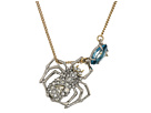Crystal Encrusted Suspended Spider Pendant Necklace