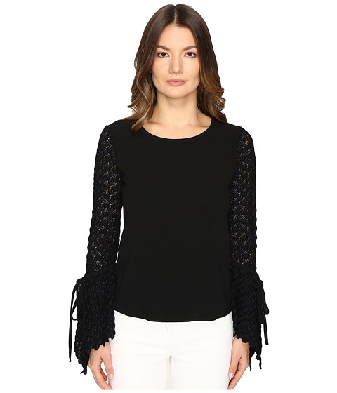 See by Chloe Crepe Long Sleeve Lace Blouse