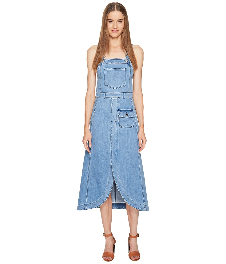 See by Chloe Denim Overall Dress (Washed Indigo) Women