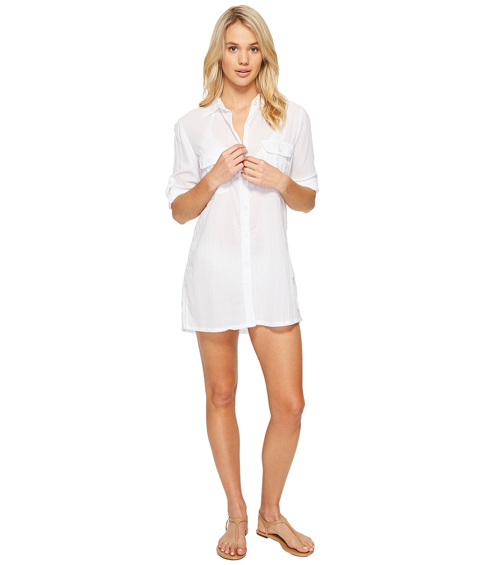 LAUREN Ralph Lauren Crushed Camp Shirt Cover-Up (White) Women