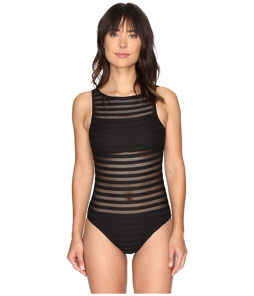 LAUREN Ralph Lauren Ottaman Mesh Hi Neck Mio One-Piece (Black) Women