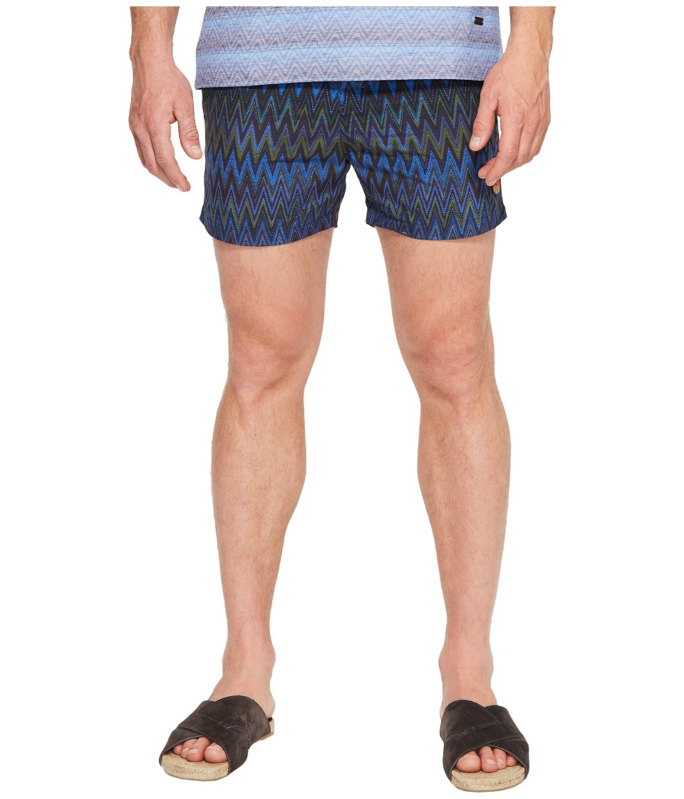 Missoni Mare Printed Nylon Zigzag Swim Trunks (Blue) Men'...