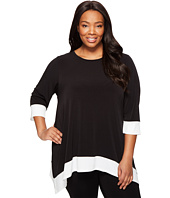 Calvin Klein Plus - Plus Size 3/4 Sleeve Sharkbite Top