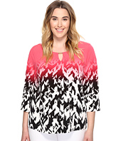 Calvin Klein Plus - Plus Size 3/4 Sleeve Printed Top with Hardware