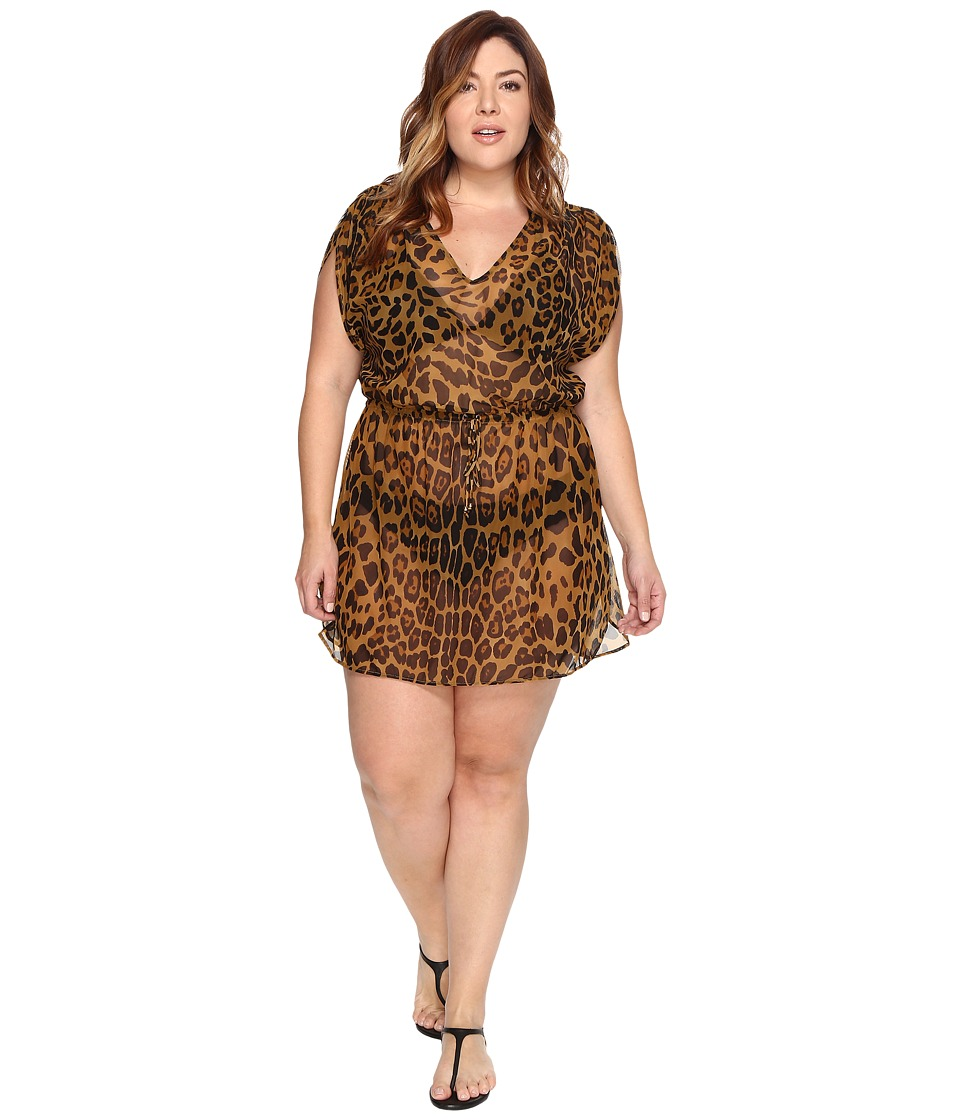 LAUREN Ralph Lauren Plus Size Leopard Tunic Cover-Up (Brown) Women