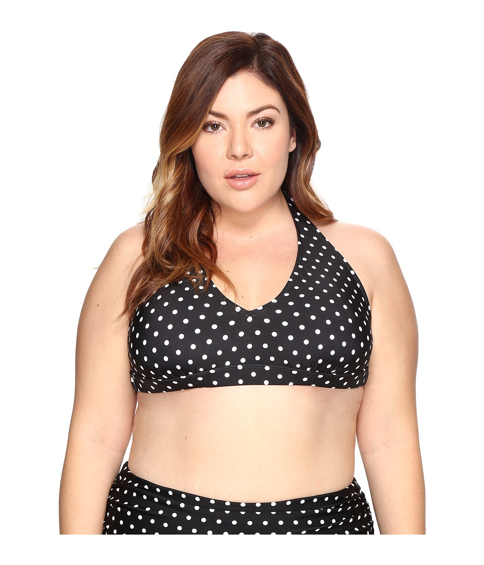 LAUREN Ralph Lauren Plus Size Dot Halter (Black/White) Women