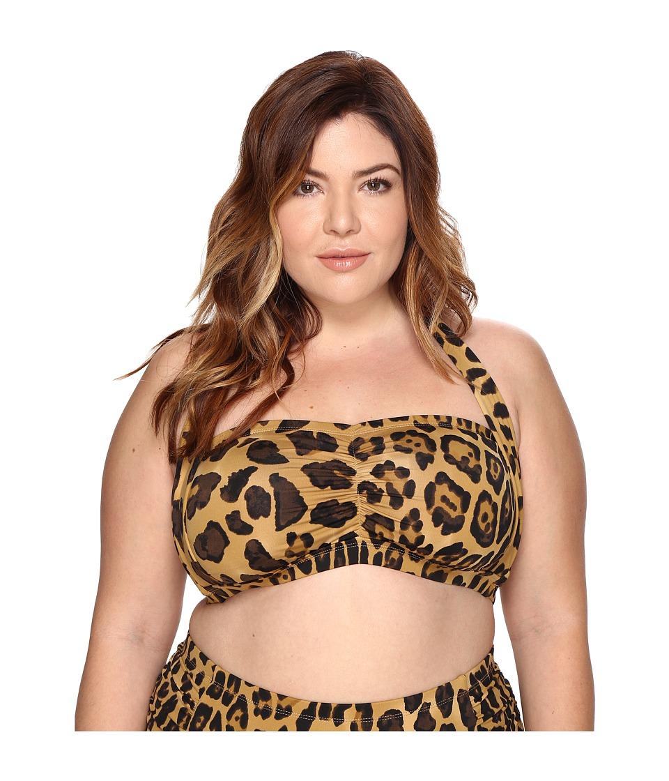 LAUREN Ralph Lauren Plus Size Leopard Retro Halter (Brown) Women