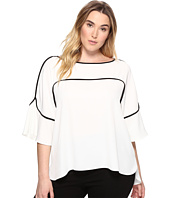 Calvin Klein Plus - Plus Size Flutter Sleeve Top with Piping