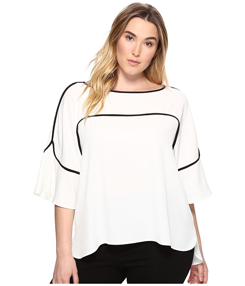Calvin Klein Plus Plus Size Flutter Sleeve Top with Piping