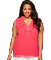 Calvin Klein Plus - Plus Size Sleeveless V-Neck Ruffle Collar Blouse