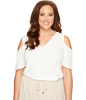 Calvin Klein Plus - Plus Size V-Neck Cold Shoulder Flutter Sleeve Top