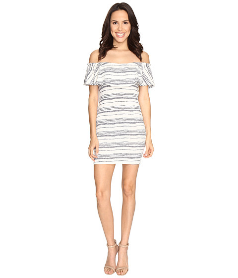 Brigitte Bailey Jamie Off Shoulder Ruffle Bodycon Dress - White/Navy