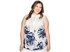 Calvin Klein Plus - Plus Size Sleeveless Printed Top with Collar