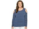 Calvin Klein Plus - Plus Size Cold Shoulder Stripe Top