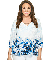 Calvin Klein Plus - Plus Size Printed 3/4 Sleeve with Hardware