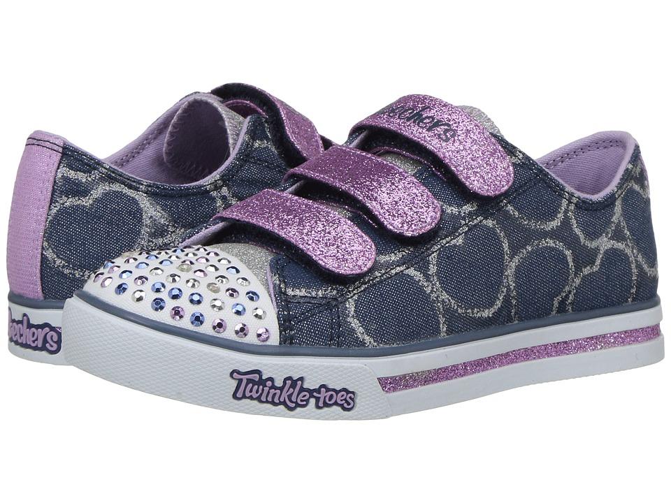 SKECHERS KIDS Sparkle Glitz 10709L Lights (Little Kid/Big Kid) (Denim/Lavender) Girl's Shoes