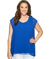 Calvin Klein Plus - Plus Size Short Sleeve Top with Chiffon Overlay