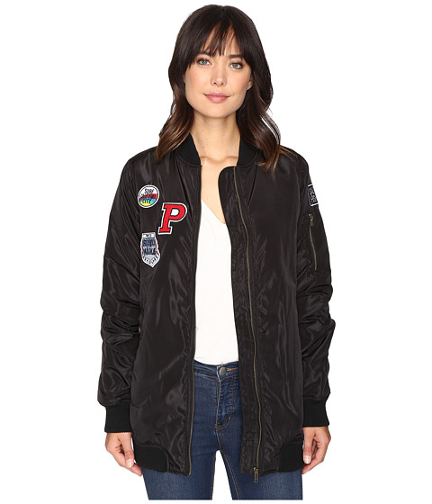 Brigitte Bailey Monica Extra Long Bomber with Patches - Black