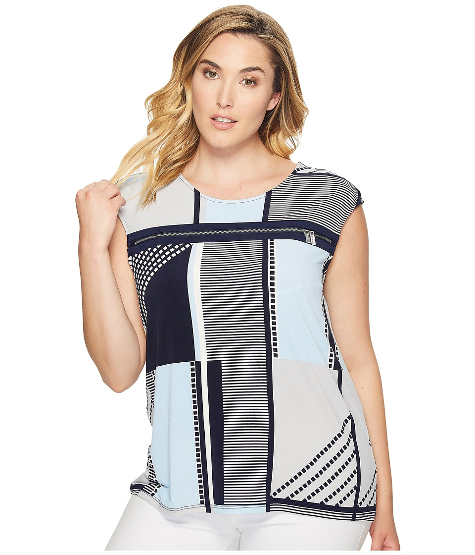 Calvin Klein Plus Calvin Klein Plus - Plus Size All Over Printed Zipper Top