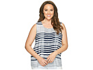 Calvin Klein Plus - Plus Size Sleeveless Printed Top with Chiffon Overlay