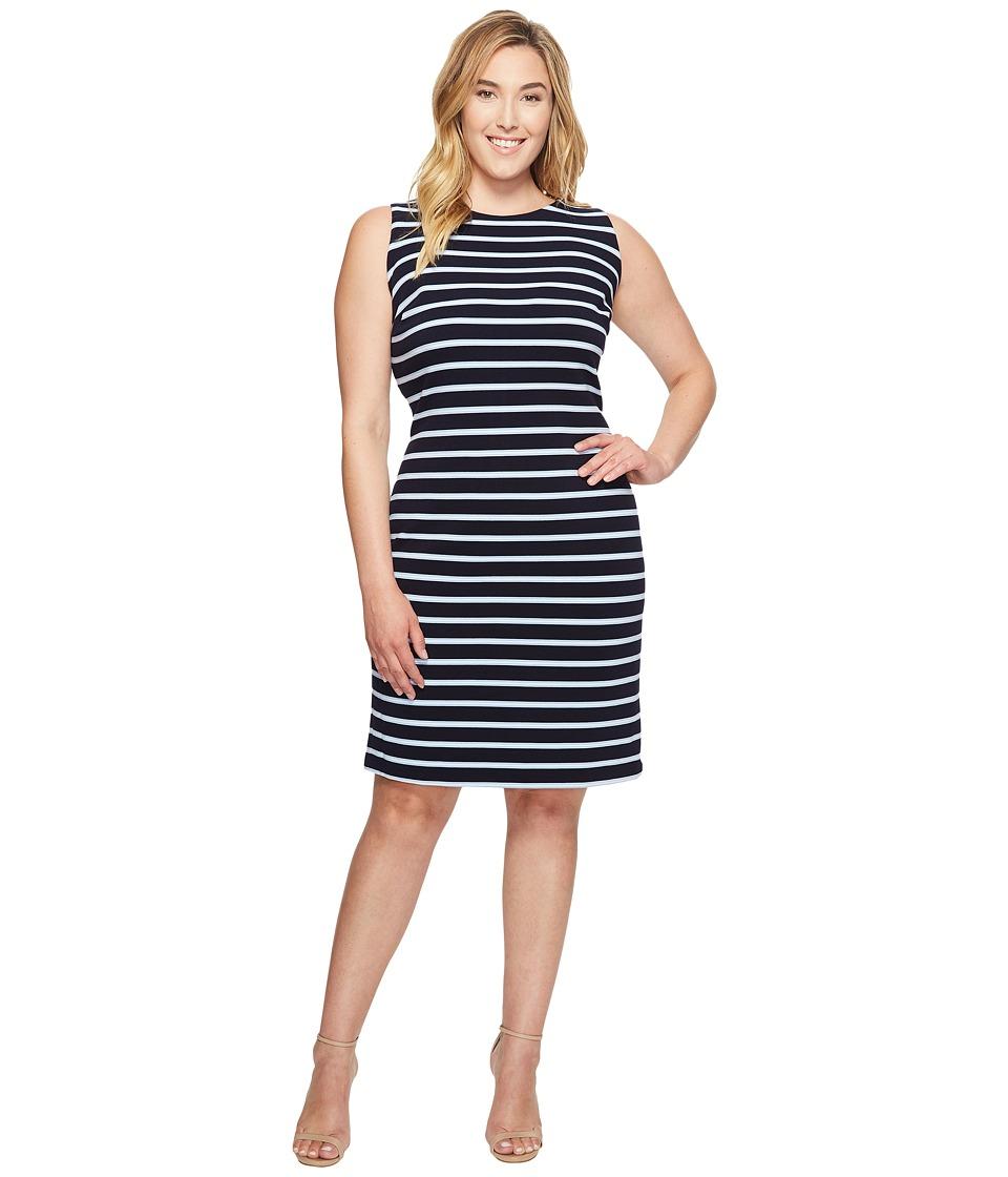 Calvin Klein Plus - Plus Size Sleeveless Textured Stripe Dress