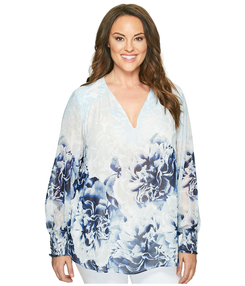 Calvin Klein Plus Calvin Klein Plus - Plus Size Long Sleeve Printed Peasant Blouse