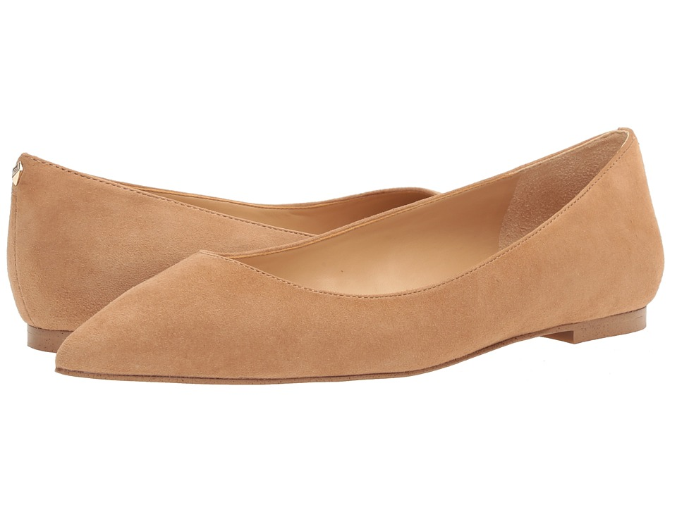Retro Vintage Flats and Low Heel Shoes Sam Edelman - Rae Golden Caramel Kid Suede Leather 2 Womens Shoes $87.99 AT vintagedancer.com