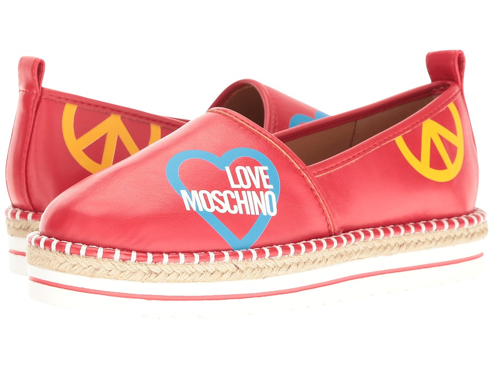 LOVE Moschino Cut Out Logo Espadrille (Red) Women
