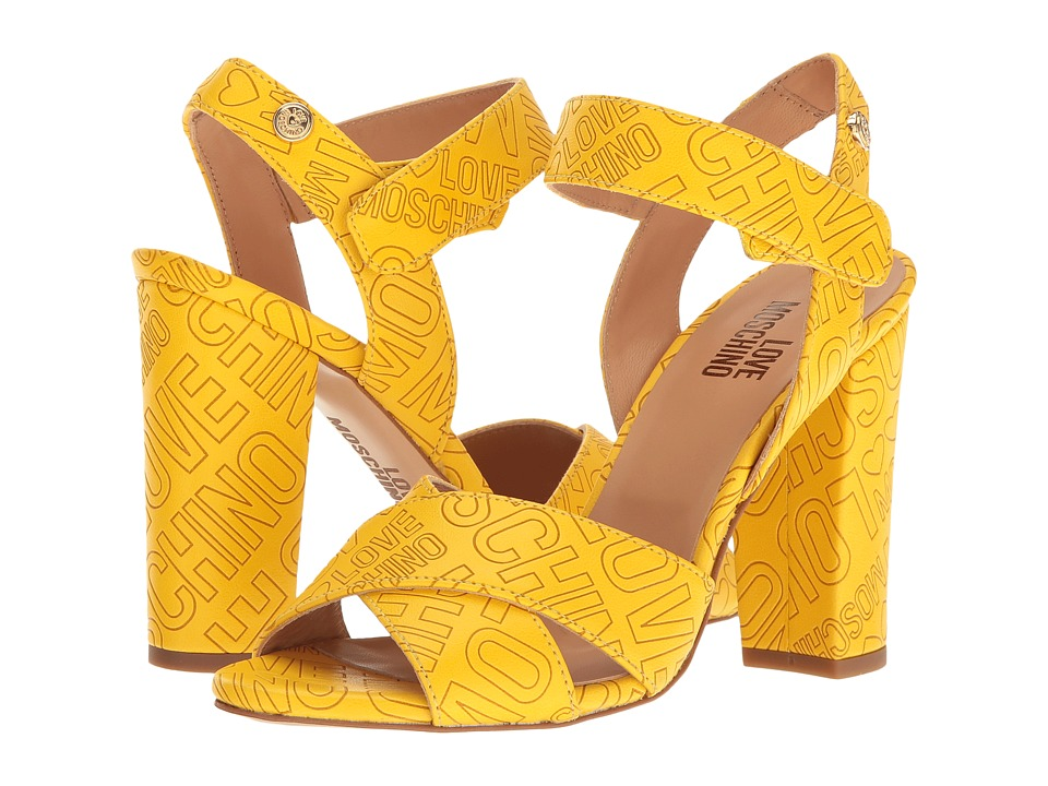 LOVE Moschino Embossed Logo Heel (Yellow) High Heels