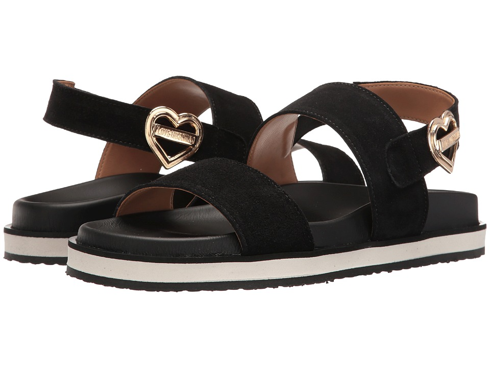 LOVE Moschino Metal Heart Buckle Sandal (Black) Women