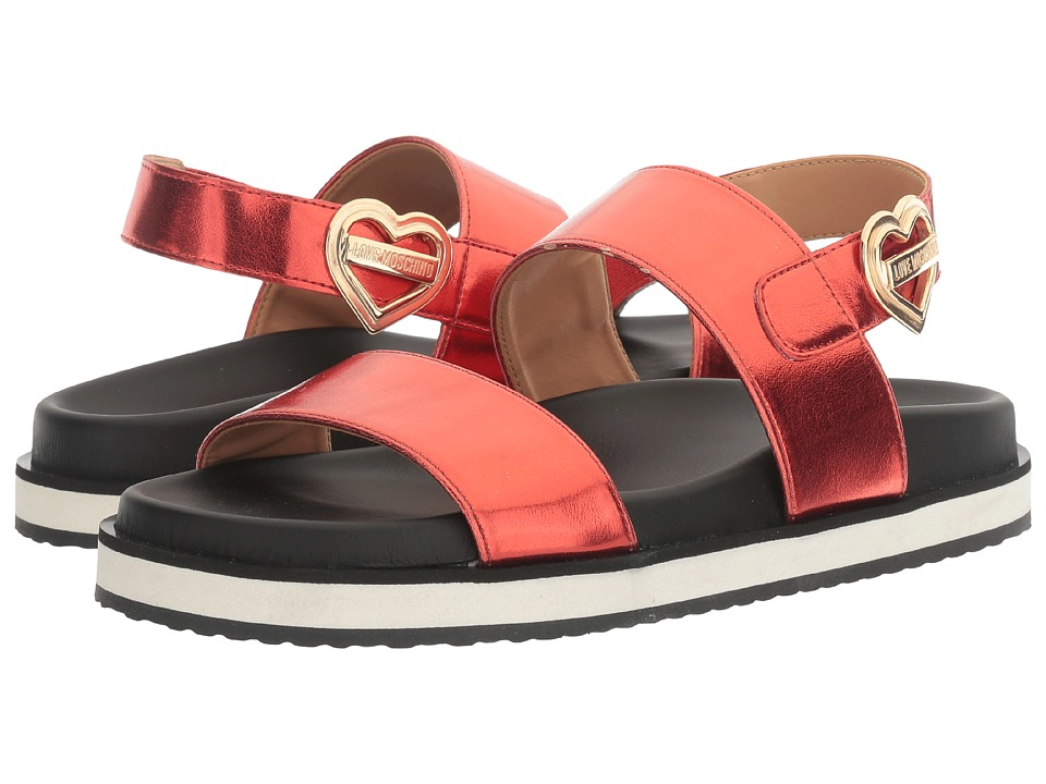 LOVE Moschino Metal Heart Buckle Sandal (Red) Women