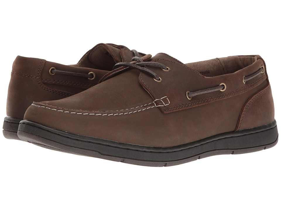 Nunn Bush - Schooner Two-Eye Boat Shoe (Dark Brown) Mens Slip on  Shoes