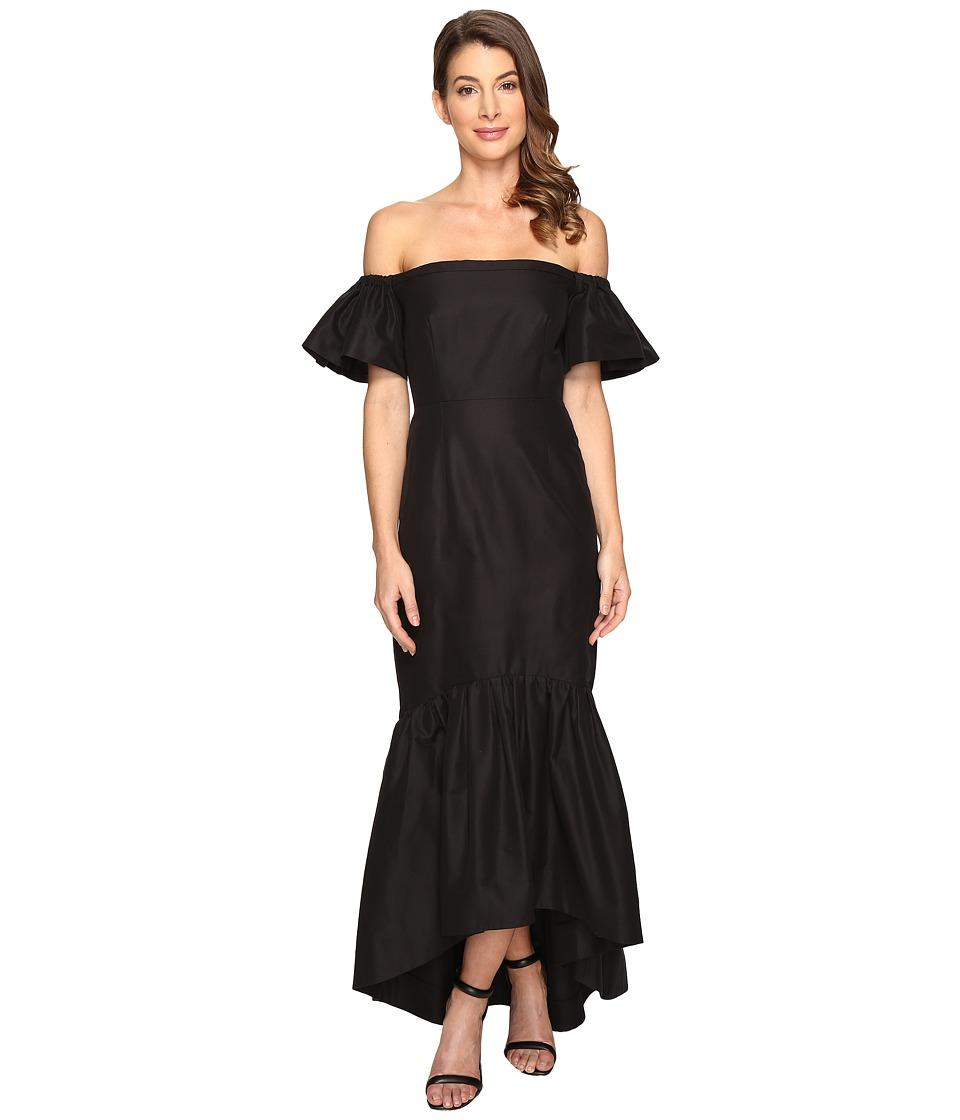 JILL JILL STUART Silk/Cotton Faille Strapless Off the Shoulder Dress (Black) Women
