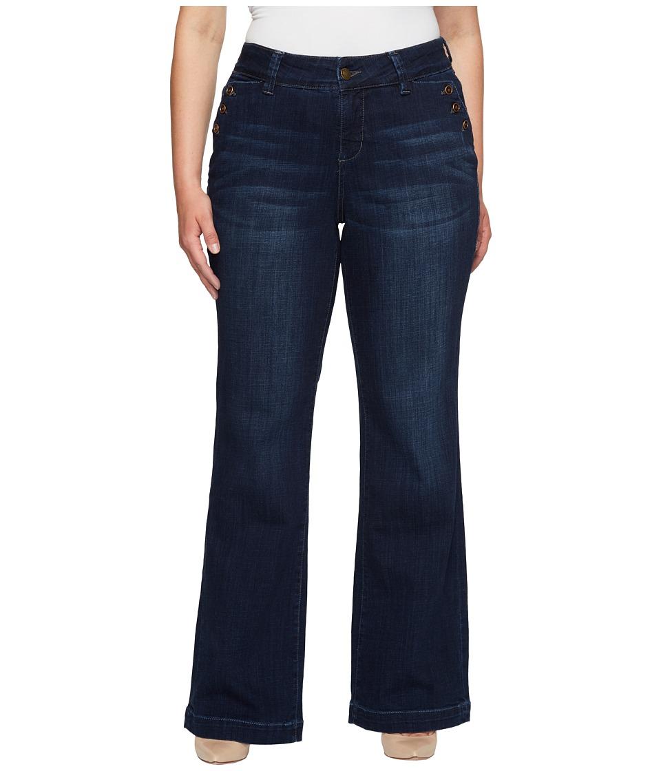 Jag Jeans Plus Size Plus Size Farrah Wide Leg Crosshatch Denim in Night Breeze (Night Breeze) Women