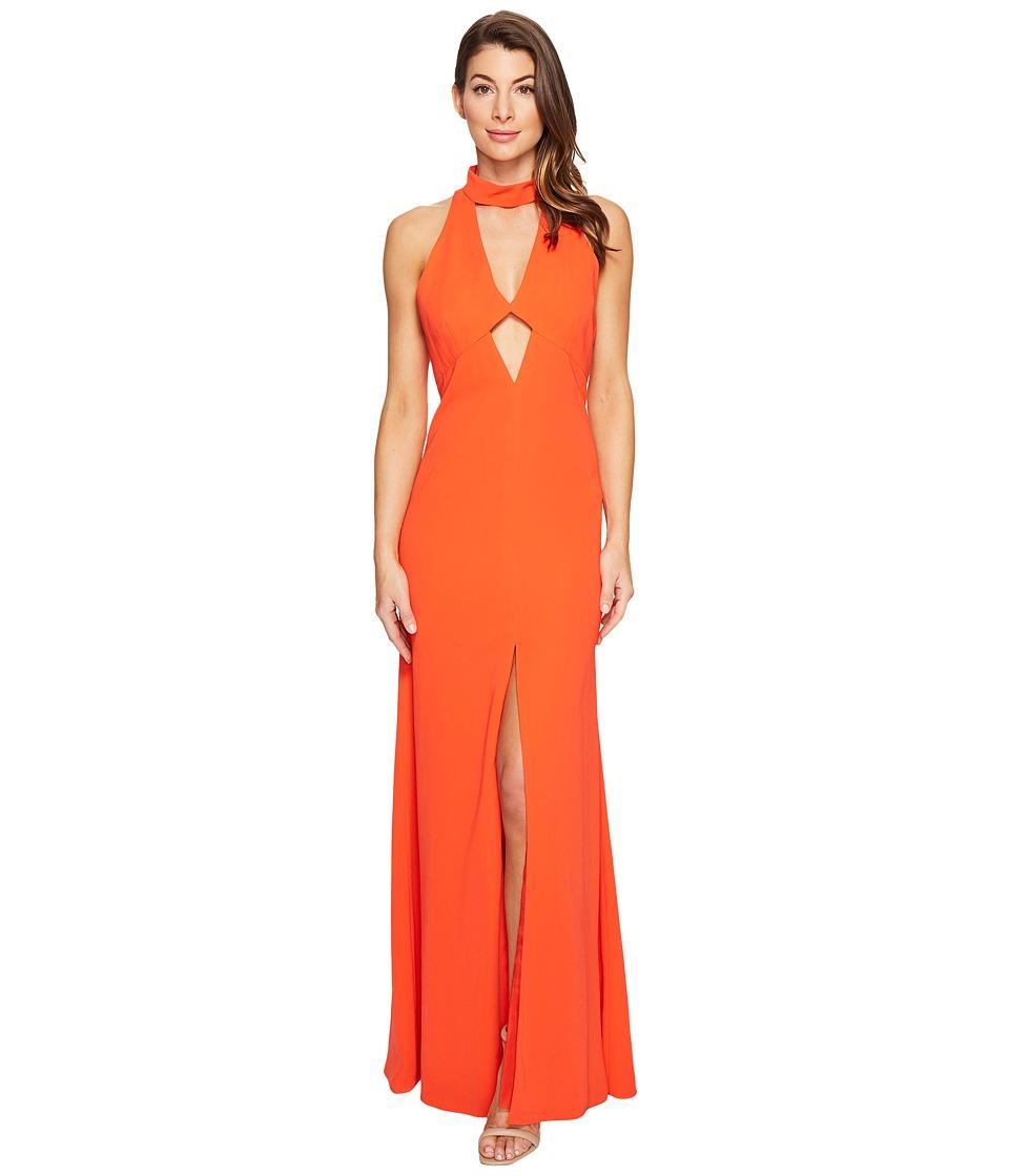 JILL JILL STUART 2-Ply Crepe Halter Cut Out Dress (Tangerine) Women